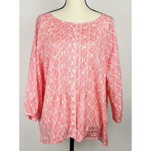 Talbots Top Pintucking 3/4 Sleeve Blouse